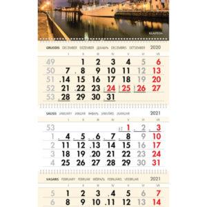Trijų dalių sieninis kalendorius MERIDIANAS