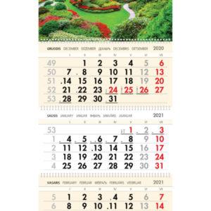 Trijų dalių sieninis kalendorius PARKAS