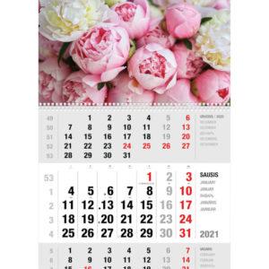 Ekonomiškas sieninis trijų dalių kalendorius BIJŪNAI