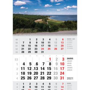 Ekonomiškas sieninis trijų dalių kalendorius NIDA