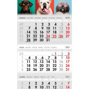 Trijų dalių sieninis kalendorius ŠUNIUKAI