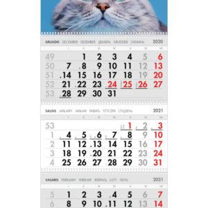 Trijų dalių sieninis kalendorius ŽYDRAAKIS