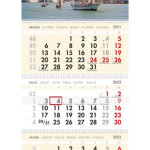 Trijų dalių sieninis kalendorius BURLAIVIS